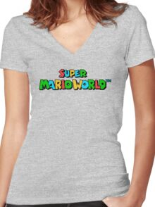 Super Mario World Logo Women's Fitted V-Neck T-Shirt