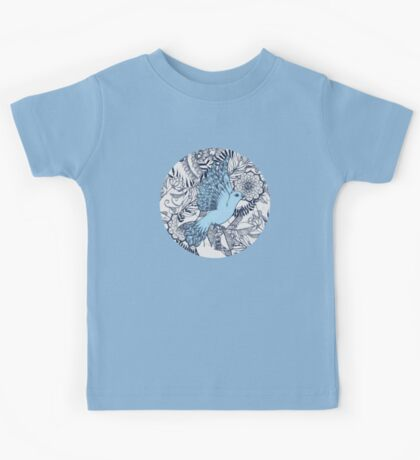 Flight of Fancy - navy, blue, grey Kids Tee