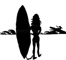 Surfer Girl silhouette  by kreativekate