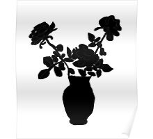Black and white vase of flowers  Poster