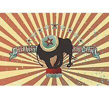 Vintage style circus elephant big top stripes Photographic Print