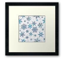 Embroidered Snowflakes on white Framed Print