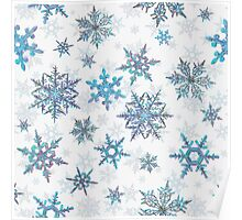 Embroidered Snowflakes on white Poster