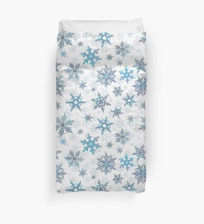 Embroidered Snowflakes on white Duvet Cover