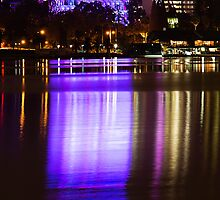 Perth at Night - Council House and Bell Tower -  Purple by Sandra Chung