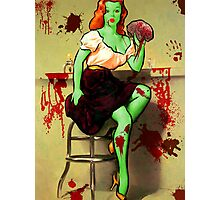 BRAINS! Zombie Pinup Photographic Print