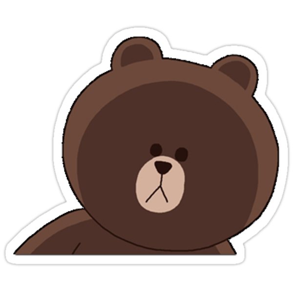 line sticker brown bear Line - Brown Cute
