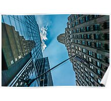 New York skyscapers and American flag Poster