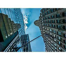 New York skyscapers and American flag Photographic Print