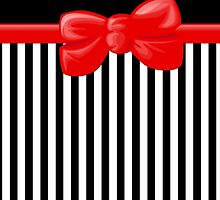 Retro Stripes, Ribbon and Bow, White Black Red by sitnica