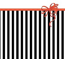 Ribbon, Bow, Stripes (Parallel Lines) - White Black Red by sitnica