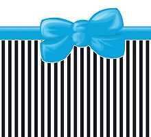 Retro Stripes, Ribbon and Bow, White Black Blue by sitnica