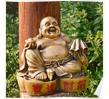 Laughing Golden Buddha Poster