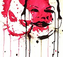 Heath Ledger Jack Nicholson watercolor splatter by justin13art