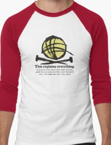 Funny knitting needles ball of yarn jargon Men's Baseball ¾ T-Shirt