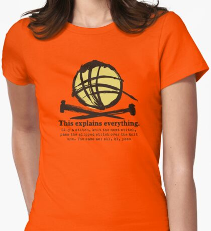 Funny knitting needles ball of yarn jargon Womens Fitted T-Shirt