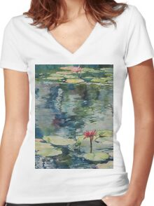 Nymph Echo, watercolor on paper Women's Fitted V-Neck T-Shirt