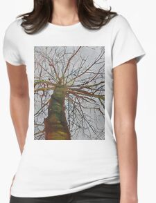 Knitting the Wind, mixed media on canvas Womens Fitted T-Shirt