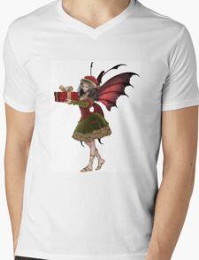Christmas Fairy Elf Girl Holding a Gift Mens V-Neck T-Shirt