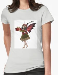 Christmas Fairy Elf Girl Holding a Gift Womens Fitted T-Shirt