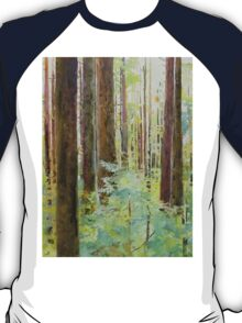 Seeing the Forest through the Trees, watercolor and mixed media on paper mounted on board, wax finish T-Shirt