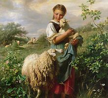 The Shepherdess by Bridgeman Art Library