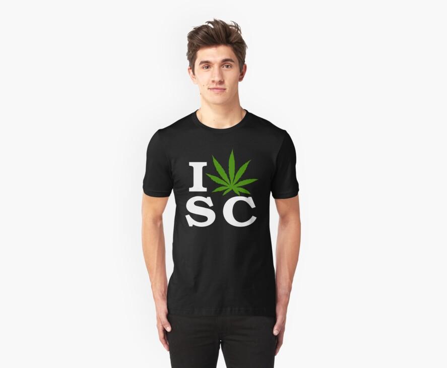 I Love South Carolina Marijuana Cannabis Weed T-Shirt by MarijuanaTshirt