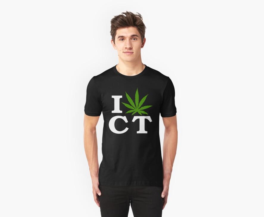 I Love Connecticut Marijuana Cannabis Weed T-Shirt by MarijuanaTshirt