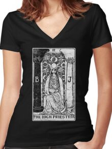 The High Priestess Tarot Card - Major Arcana - fortune telling - occult Women's Fitted V-Neck T-Shirt