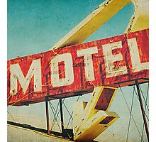 Thrashed Motel Sign Photographic Print