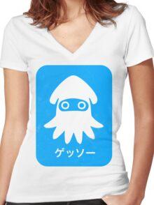 Blooper Blue Women's Fitted V-Neck T-Shirt