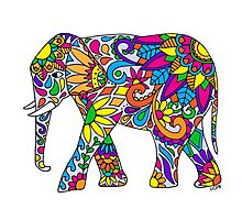 Colorful Tribal Elephant Photographic Print