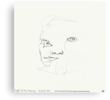 (Night) & Nap Drawings 22 - Portrait - eyes closed - 28th July 2013 Canvas Print