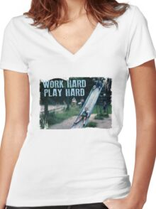 Work Hard, Play Hard Women's Fitted V-Neck T-Shirt
