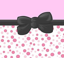 Retro Dots Spots, Ribbon and Bow, Pink White Gray by sitnica