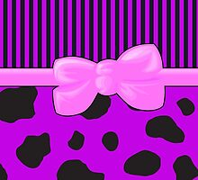 Stripes Animal Print Cow, Ribbon Bow, Purple Black Pink by sitnica