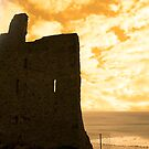 ballybunion castle at sunset by morrbyte