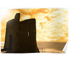ballybunion castle at sunset Poster