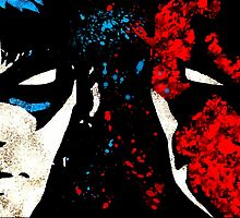 Night wing Dick Grayson Red Hood Jason Todd acrylic splatter by justin13art