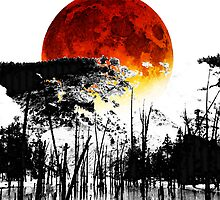 The Red Moon - Landscape Art By Sharon Cummings by Sharon Cummings