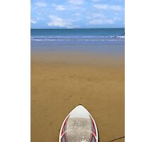 golden beach with surfboard Photographic Print