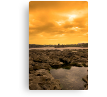 rock formations with castle at sunset Canvas Print