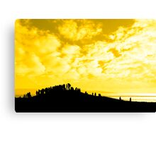 silhouette of a crowd on a hill Canvas Print