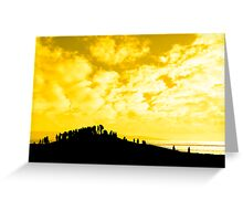 silhouette of a crowd on a hill Greeting Card