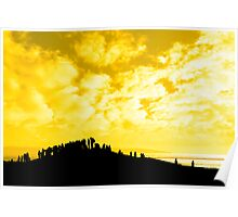 silhouette of a crowd on a hill Poster