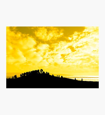 silhouette of a crowd on a hill Photographic Print