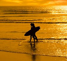 silhouette of surfing couple walking from the sea by morrbyte