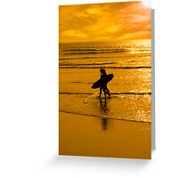 silhouette of surfing couple walking from the sea Greeting Card