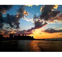 Stormy Sunset on Boston Harbor Photographic Print