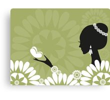 girl with butterfly Canvas Print